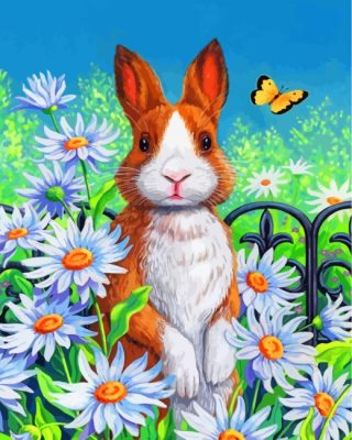 Bunny And Daisies Paint by numbers