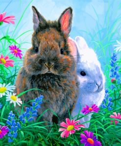 Bunny Rabbits In Garden Paint by numbers