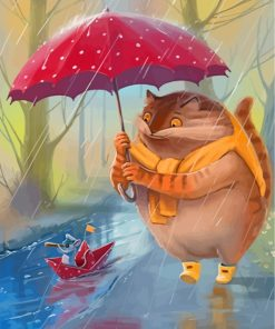 Cat And Mouse In Rain Paint by numbers
