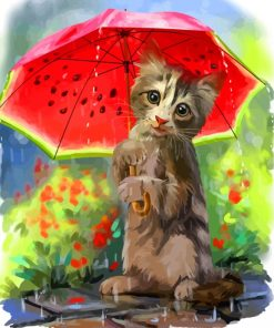 Cat And Watermelon Umbrella Paint by numbers