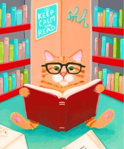 Cat In Library Paint by numbers