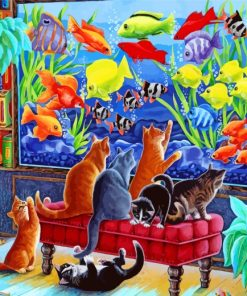 Cats Watching Fishes Paint by numbers