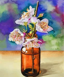 Cherry Blossoms In Glass Paint by numbers