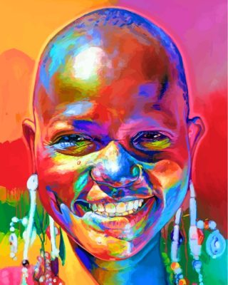 Colorful African Woman Paint by numbers