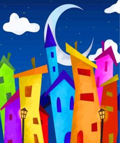 Colorful Buildings Art Paint by numbers