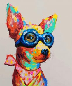 Colorful Dog With Glasses Paint by numbers