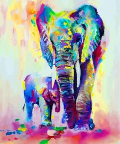 Colorful Elephants Art Paint by numbers