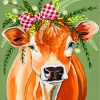 Cow And Flowers Paint by numbers