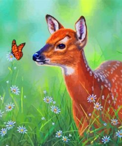 Deer And Butterfly Paint by numbers