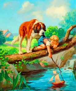 Dog And Little Boy Paint by numbers