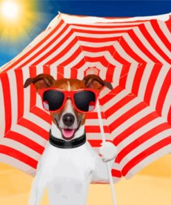 Dog Holding Umbrella Paint by numbers