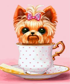 Dog In Teacup Paint by numbers