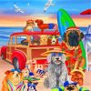 Dogs In Beach Paint by numbers