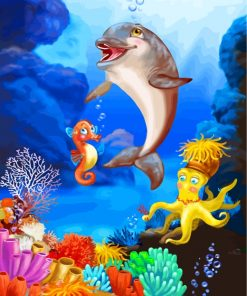 Dolphin Undersea Paint by Numbers numbers