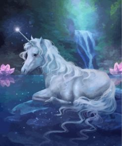 Fantasy White Unicorn Paint by numbers