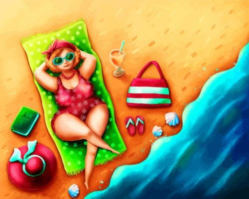 Fat Lady In Beach Paint by Numbers