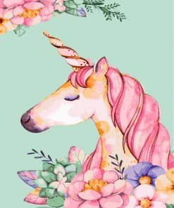 Floral Unicorn Paint by numbers
