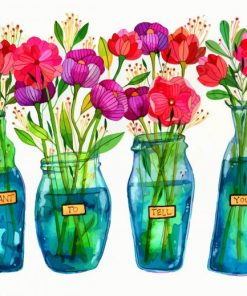 Flowers Bottles Paint by numbers
