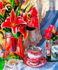 Flowers Vase And Teacup Paint by numbers