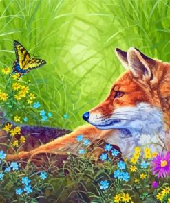 Fox And Butterfly Paint by numbers