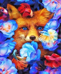 Fox With Fish And Flowers Paint by numbers