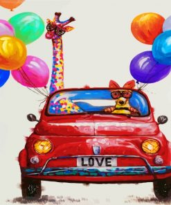 Giraffe And Dog In Car Paint by numbers