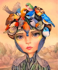 Girl And Birds Art Paint by numbers