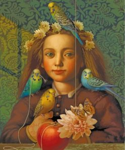 Girl And Budgies Paint by numbers