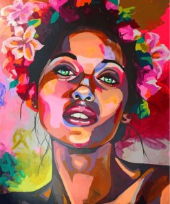 Girl And Flowers Art Paint by numbers