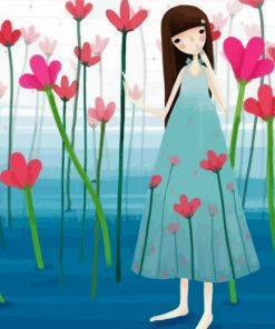 Girl And Pink Flowers Paint by numbers