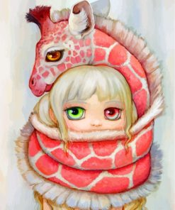 Girl And Pink Giraffe Paint by numbers