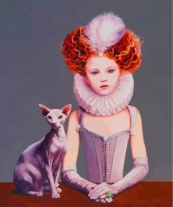 Girl And Sphinx Cat Paint by numbers