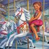 Girl On Carousel Paint by numbers