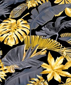 Gold Tropical Leaves Paint by numbers