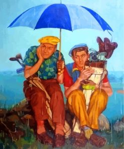 Golf Players In Rain Paint by numbers