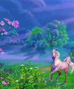 Horse Running In Nature Paint by numbers
