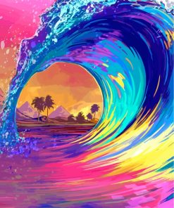 Illustration Colorful Wave Paint by numbers