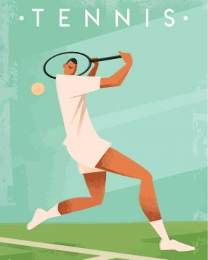Illustration Tennis Player Paint by numbers