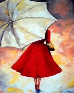Lady And Umbrella Paint by numbers
