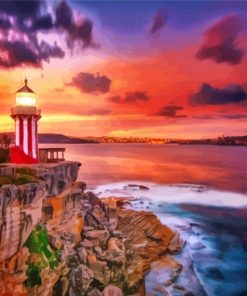 Lighthouse At Sunset Paint by numbers