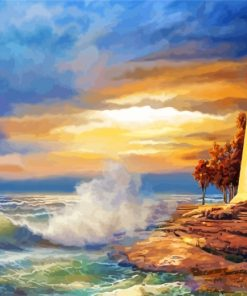 Lighthouse Ocean Waves Paint by numbers