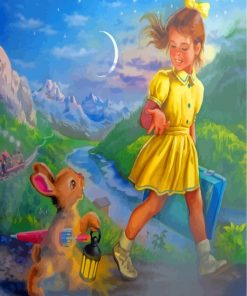 Little Girl And Rabbit Paint by numbers