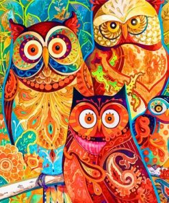Owls Birds Art Paint by numbers