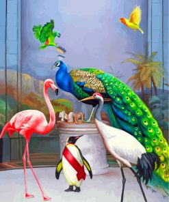 Peafowl And Birds Paint by numbers