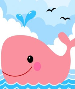 Pink Whale Paint by numbers