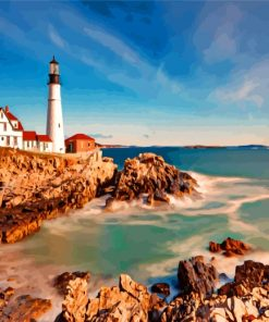 Portland Head Light Lighthouse Paint by numbers