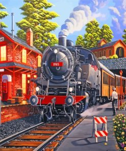 Railway Stream Train Paint by numbers