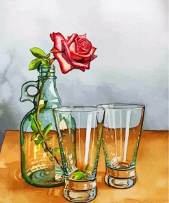 Rose In Glass Bottle Paint by numbers