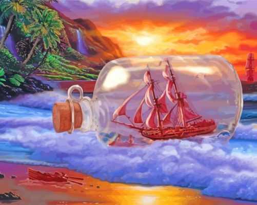 Ship In A Bottle Paint by numbers