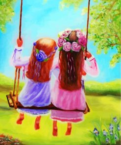 Sisters On Swing Paint by numbers